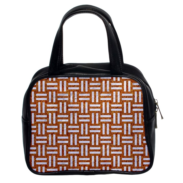 WOVEN1 WHITE MARBLE & RUSTED METAL Classic Handbags (2 Sides)