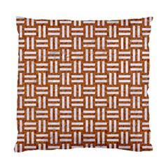 Woven1 White Marble & Rusted Metal Standard Cushion Case (one Side)