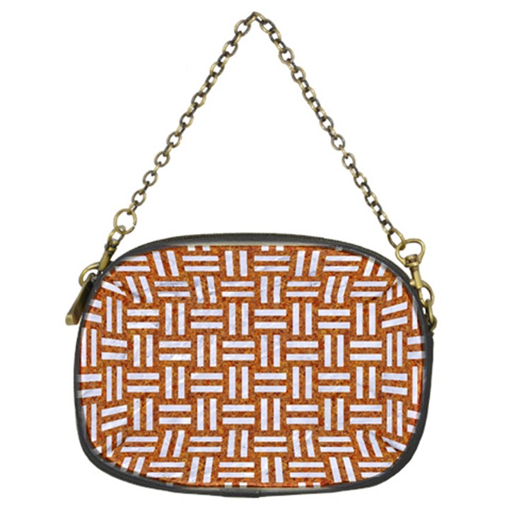 WOVEN1 WHITE MARBLE & RUSTED METAL Chain Purses (Two Sides)
