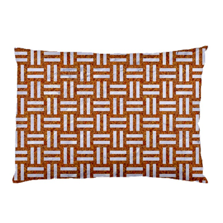 WOVEN1 WHITE MARBLE & RUSTED METAL Pillow Case