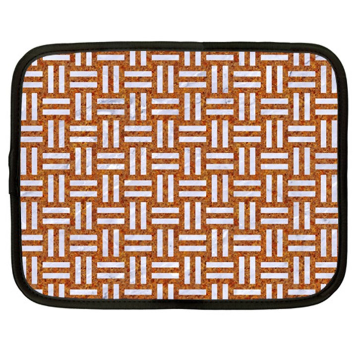 WOVEN1 WHITE MARBLE & RUSTED METAL Netbook Case (XL)