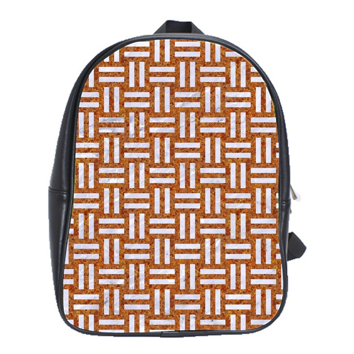 WOVEN1 WHITE MARBLE & RUSTED METAL School Bag (Large)