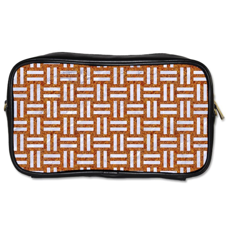WOVEN1 WHITE MARBLE & RUSTED METAL Toiletries Bags 2-Side