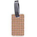 WOVEN1 WHITE MARBLE & RUSTED METAL Luggage Tags (Two Sides) Back