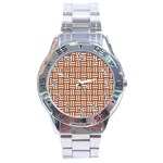 WOVEN1 WHITE MARBLE & RUSTED METAL Stainless Steel Analogue Watch Front