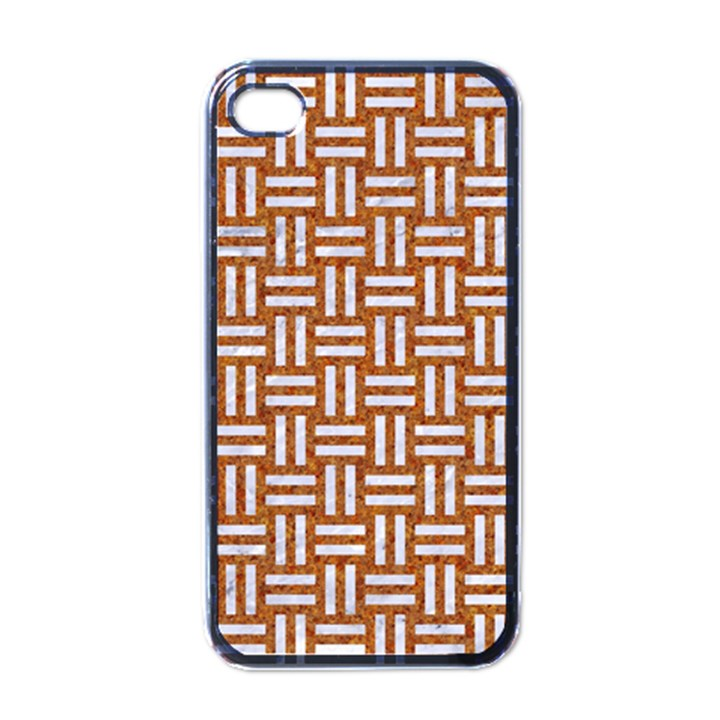 WOVEN1 WHITE MARBLE & RUSTED METAL Apple iPhone 4 Case (Black)