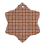 WOVEN1 WHITE MARBLE & RUSTED METAL Ornament (Snowflake) Front