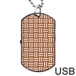 WOVEN1 WHITE MARBLE & RUSTED METAL Dog Tag USB Flash (Two Sides) Front