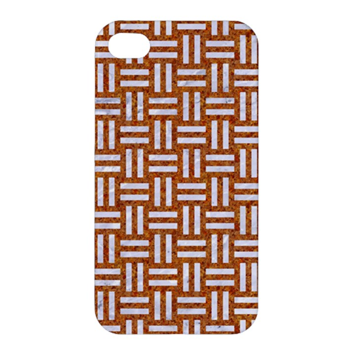 WOVEN1 WHITE MARBLE & RUSTED METAL Apple iPhone 4/4S Premium Hardshell Case