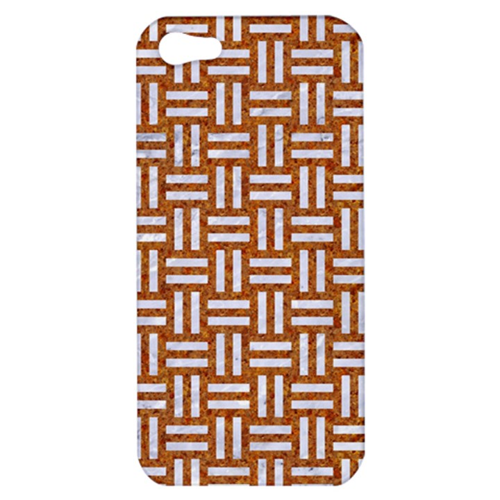 WOVEN1 WHITE MARBLE & RUSTED METAL Apple iPhone 5 Hardshell Case