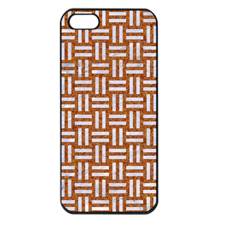 WOVEN1 WHITE MARBLE & RUSTED METAL Apple iPhone 5 Seamless Case (Black)