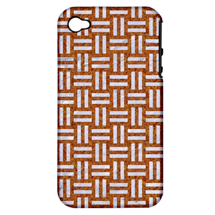 WOVEN1 WHITE MARBLE & RUSTED METAL Apple iPhone 4/4S Hardshell Case (PC+Silicone)