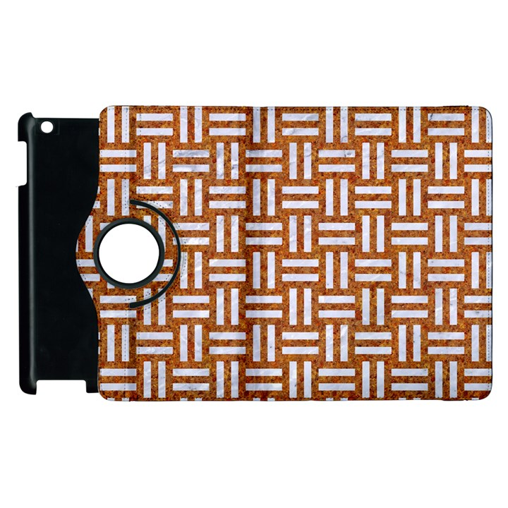 WOVEN1 WHITE MARBLE & RUSTED METAL Apple iPad 2 Flip 360 Case