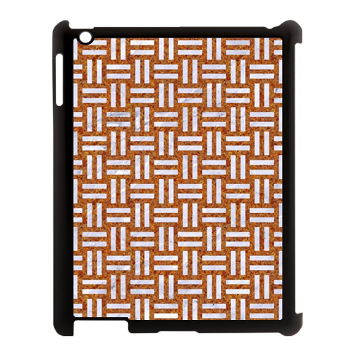WOVEN1 WHITE MARBLE & RUSTED METAL Apple iPad 3/4 Case (Black)