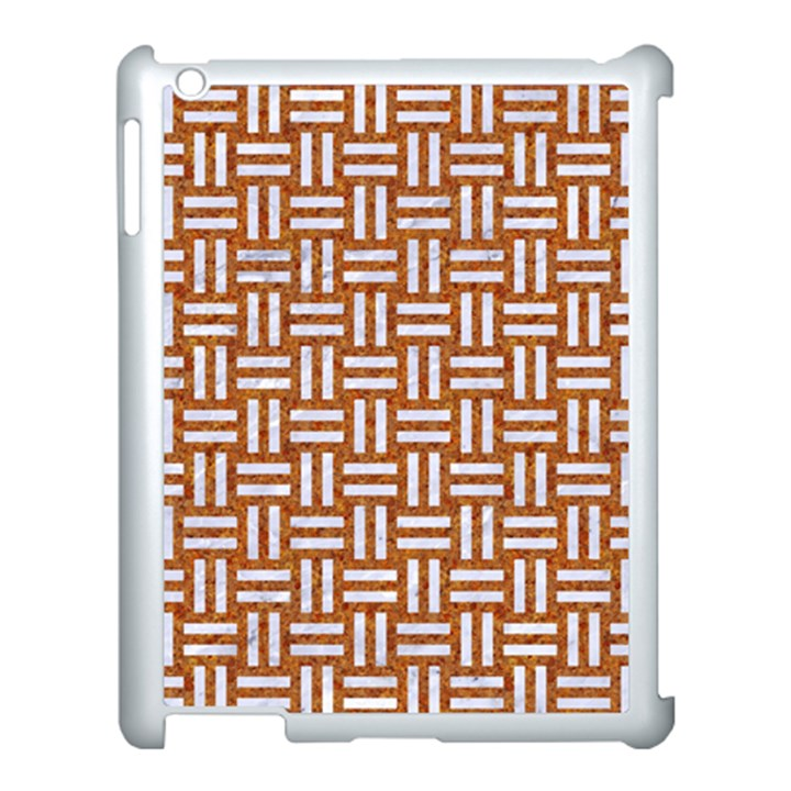 WOVEN1 WHITE MARBLE & RUSTED METAL Apple iPad 3/4 Case (White)