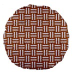 WOVEN1 WHITE MARBLE & RUSTED METAL Large 18  Premium Round Cushions Front