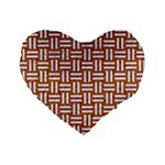WOVEN1 WHITE MARBLE & RUSTED METAL Standard 16  Premium Heart Shape Cushions Front