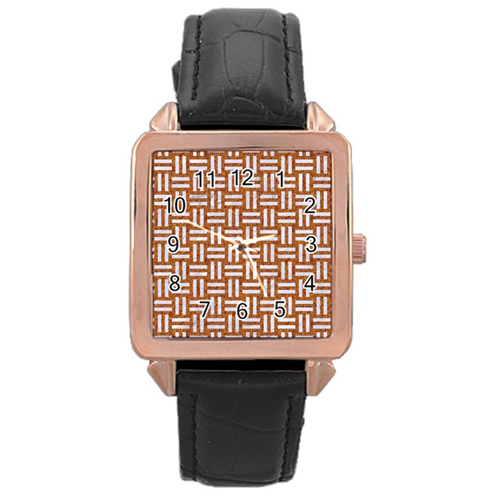 WOVEN1 WHITE MARBLE & RUSTED METAL Rose Gold Leather Watch