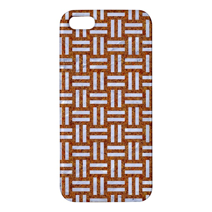 WOVEN1 WHITE MARBLE & RUSTED METAL Apple iPhone 5 Premium Hardshell Case