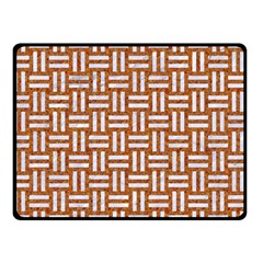 Woven1 White Marble & Rusted Metal Double Sided Fleece Blanket (small)