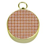 WOVEN1 WHITE MARBLE & RUSTED METAL Gold Compasses Front