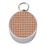 WOVEN1 WHITE MARBLE & RUSTED METAL Mini Silver Compasses Front