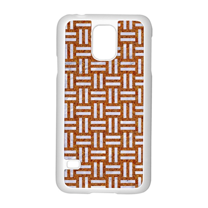 WOVEN1 WHITE MARBLE & RUSTED METAL Samsung Galaxy S5 Case (White)
