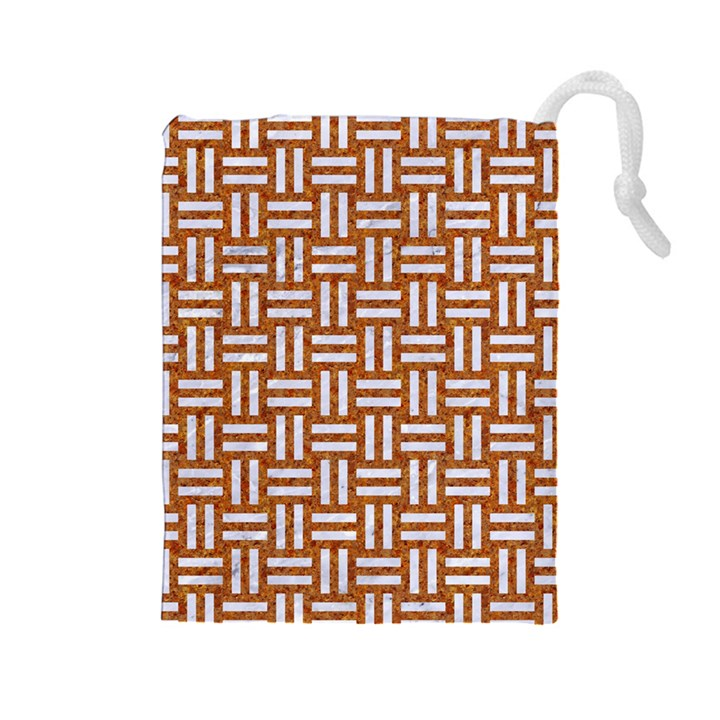 WOVEN1 WHITE MARBLE & RUSTED METAL Drawstring Pouches (Large)
