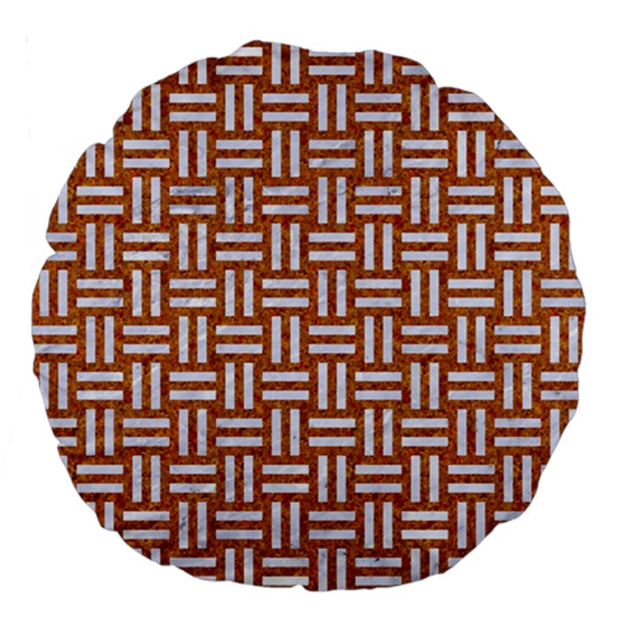 WOVEN1 WHITE MARBLE & RUSTED METAL Large 18  Premium Flano Round Cushions