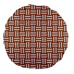 WOVEN1 WHITE MARBLE & RUSTED METAL Large 18  Premium Flano Round Cushions Back