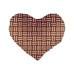 WOVEN1 WHITE MARBLE & RUSTED METAL Standard 16  Premium Flano Heart Shape Cushions Front