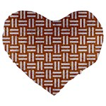WOVEN1 WHITE MARBLE & RUSTED METAL Large 19  Premium Flano Heart Shape Cushions Front