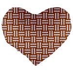 WOVEN1 WHITE MARBLE & RUSTED METAL Large 19  Premium Flano Heart Shape Cushions Back