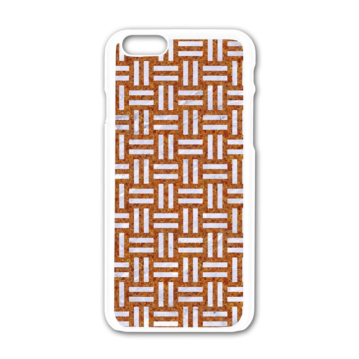 WOVEN1 WHITE MARBLE & RUSTED METAL Apple iPhone 6/6S White Enamel Case