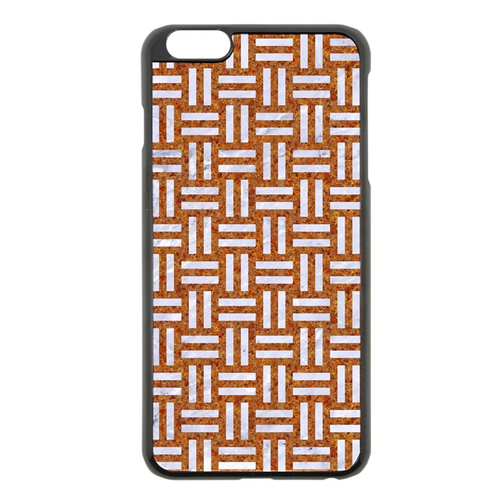 WOVEN1 WHITE MARBLE & RUSTED METAL Apple iPhone 6 Plus/6S Plus Black Enamel Case