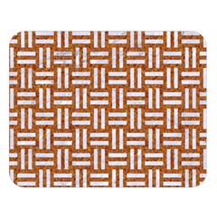 Woven1 White Marble & Rusted Metal Double Sided Flano Blanket (large)