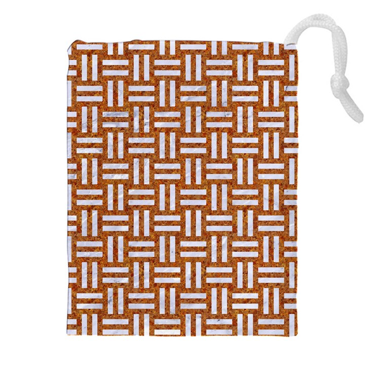 WOVEN1 WHITE MARBLE & RUSTED METAL Drawstring Pouches (XXL)