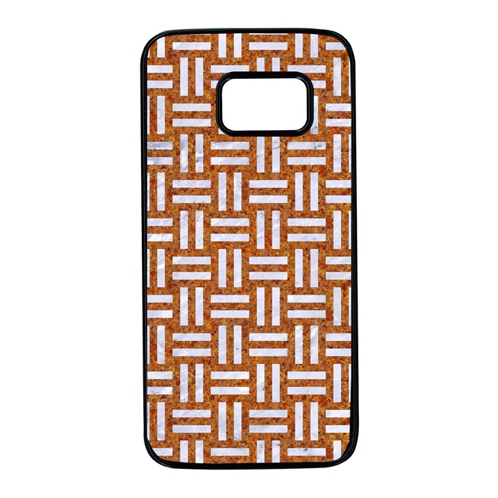 WOVEN1 WHITE MARBLE & RUSTED METAL Samsung Galaxy S7 Black Seamless Case