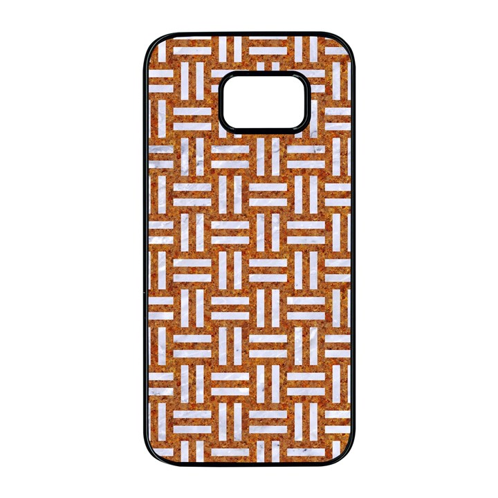 WOVEN1 WHITE MARBLE & RUSTED METAL Samsung Galaxy S7 edge Black Seamless Case