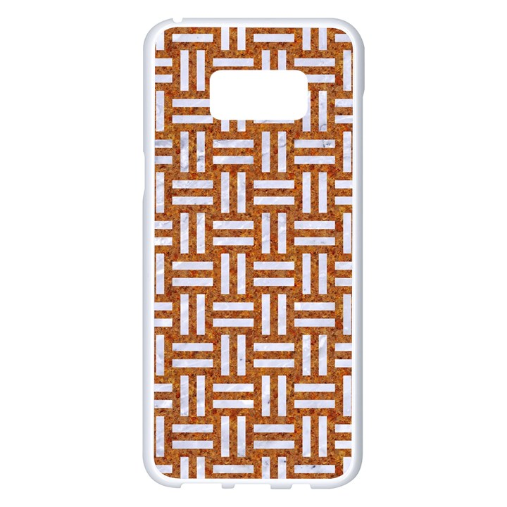 WOVEN1 WHITE MARBLE & RUSTED METAL Samsung Galaxy S8 Plus White Seamless Case