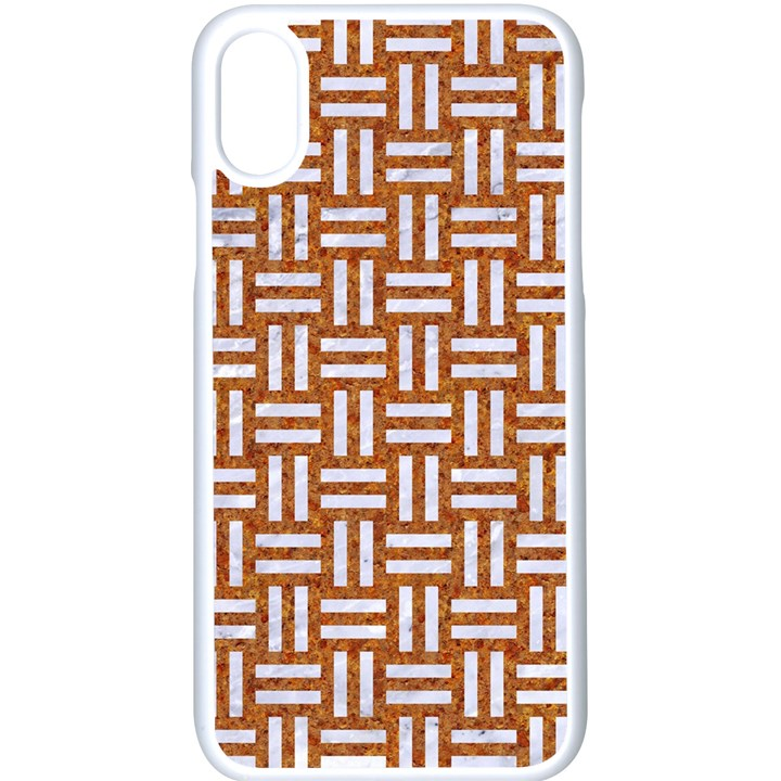 WOVEN1 WHITE MARBLE & RUSTED METAL Apple iPhone X Seamless Case (White)