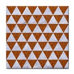 TRIANGLE3 WHITE MARBLE & RUSTED METAL Tile Coasters Front