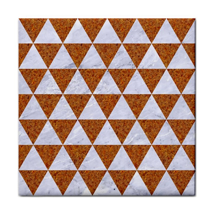 TRIANGLE3 WHITE MARBLE & RUSTED METAL Tile Coasters