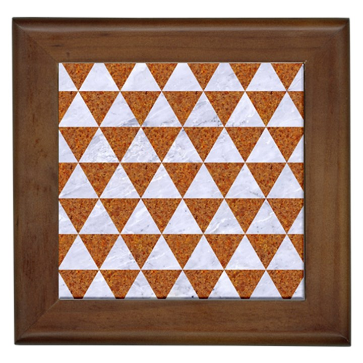 TRIANGLE3 WHITE MARBLE & RUSTED METAL Framed Tiles