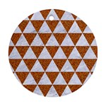 TRIANGLE3 WHITE MARBLE & RUSTED METAL Ornament (Round) Front