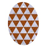 TRIANGLE3 WHITE MARBLE & RUSTED METAL Ornament (Oval) Front