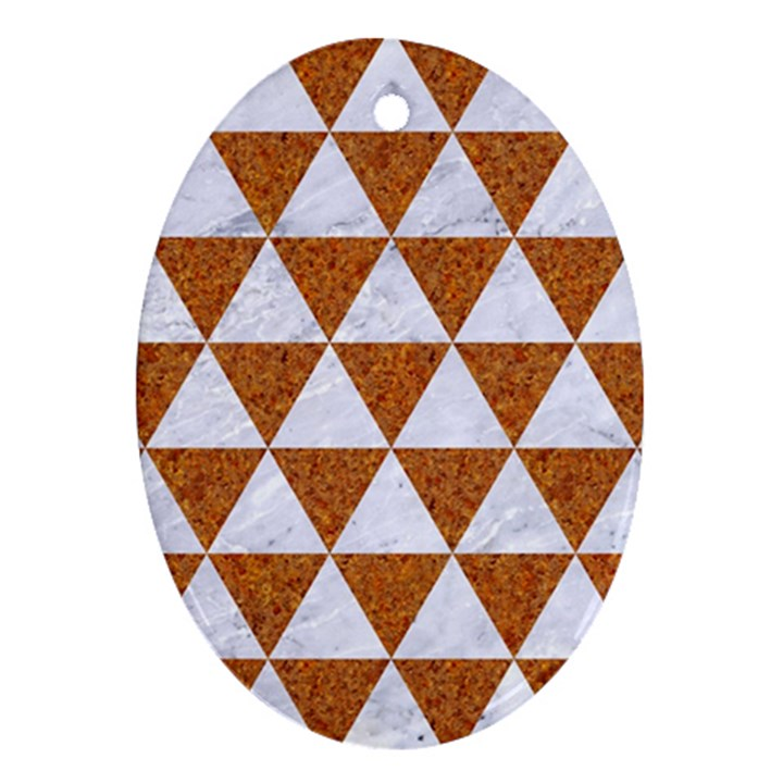 TRIANGLE3 WHITE MARBLE & RUSTED METAL Ornament (Oval)