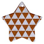 TRIANGLE3 WHITE MARBLE & RUSTED METAL Ornament (Star) Front