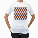 TRIANGLE3 WHITE MARBLE & RUSTED METAL Women s T-Shirt (White) (Two Sided) Front
