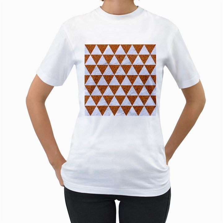 TRIANGLE3 WHITE MARBLE & RUSTED METAL Women s T-Shirt (White) (Two Sided)